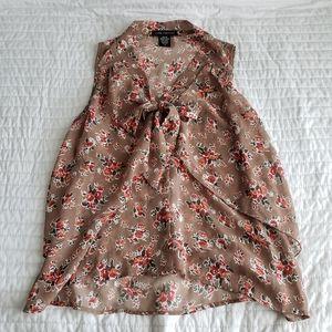 Love Culture Tan Button Front Tie Floral Blouse